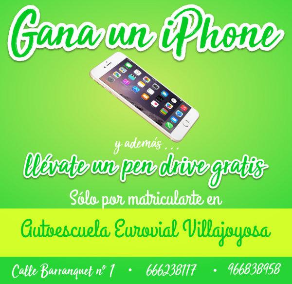 Gana un iPhone por matricularte en Autoescuela Eurovial de la Vila Joiosa
